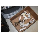 Box of Extension Cords & Lamp
