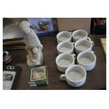 Lot of Soup Mugs,Statue & Coasters