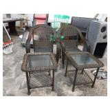 WICKER PATIO CHAIRS AND TABLES