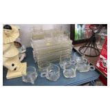 VINTAGE GLASS SNACK PLATES, CUPS