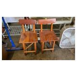 PAIR OF SMALL WOODEN CHILDRENS CHAIRS