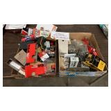 TWO BOXES OF VINTAGE ELECTRONICS, TUBES, CAPS,