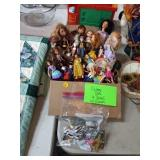 BOX OF VINTAGE DOLLS WITH CLOTHES