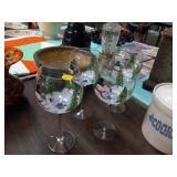 4 SNOWMAN WINE GLASSES