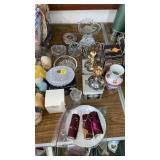 VARIOUS GLASSWARE, CANDLE HOLDERS