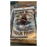 WASH YOUR PAWS RACOON METAL SIGN