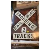 RAILROAD CROSSING METAL SIGN