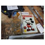 VINTAGE MICKEY MOUSE BANK AND GLASSES