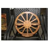 WOODEN WAGON WHEEL SHELF