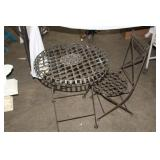 SMALL METAL KIDS BISTRO TABLE AND CHAIR