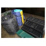 TWO SLEEPING BAGS AND TACKLE BOX