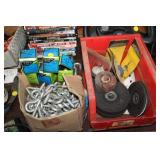 WIRE BRUSHES, EYE HOOKS, TRAY OF GRINDING WHEELS