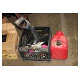 CRATE OF PAINTBALL ACCESSORIES AND GAS CAS