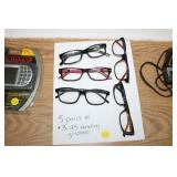 FIVE PAIR OF READING GLASSES