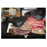 LOT OF PURSES,BLANKETS & ETC