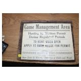 GAME MANAGEMENT AREA SIGN