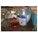 METAL BUCKET & GLASS CANDY DISH