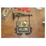 CAST IRON ROOSTER WELCOME SIGN