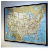 "National Geographic, ""The United States"" Mounted Map Copy Write 2000, Framed With Peg Board Back, 49"