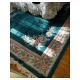 Teal Colored Wool Room Carpet in VERY CLEAN good