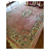Pink Wool Room Carpet In Excellent Condition -