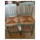 Lot of 2 Green Bar Stools
