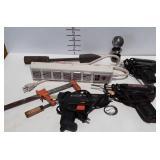 Tools lot. Weller soldering irons, hot glue gun,