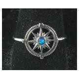 Size 9 Sterling silver compass ring
