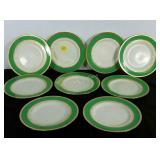"""Nine Minton 10.5"""" china plates, made in England."""