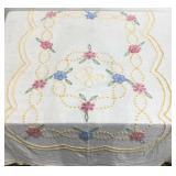 Vintage chenille bedspread, floral design, shows