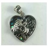 Sterling abalone shell turtle heart pendant