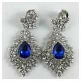 Simulated royal blue quartz and Austrian crystal