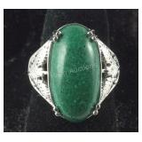 Size 7 malachite 6.38ct solitaire platinum bond