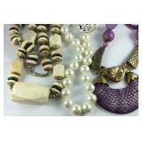 Three necklaces bone beaded, glass pearl,and