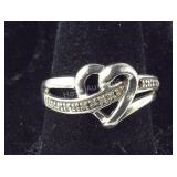 Size 6.75, Genuine Diamond Heart Ring, Sterling