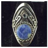 Size 8.5 - Slightly Adjustable, Blue Lapis Ring,