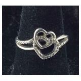 Size 6.25, Black Diamond Double Heart Ring,