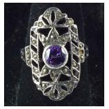Size 7, Vintage Amethyst & Marcasite Ring