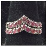 "Size 7.25, ""V"" Shaped Genuine Ruby Cluster Ring"