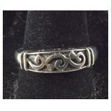 Size 7.5, Ornate Design Silver Ring, Sterling