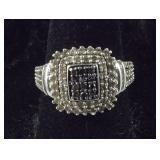 Size 7, 3/4 CTW Genuine Black & White Diamond