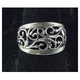 Size 7.25, Open Silverwork  Ring, Sterling