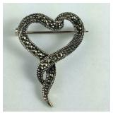 Vintage Marcasite Heart Ribbon Pin / Brooch,