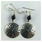 Black Onyx Bead & Silver Disc Dangle Earrings,
