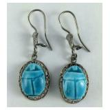 Baby Blue Scarab Fish Hook Earrings, Sterling
