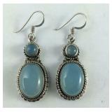 Blue Chalcedony Earrings, Sterling Silver, 10.6