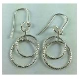 Diamond Cut Silver Fish Hook Earrings,