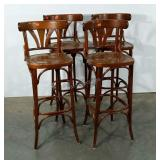 "Four wooden bar stools, 32"" to seat,"