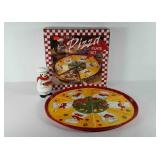7 piece pizza plate set, appears to be new in