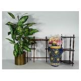 Home decor: 2 knickknack shelves, vase with